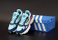 Женские кроссовки Adidas Falcon Blue White (Адидас Фалькон)