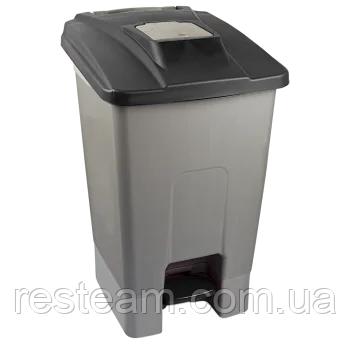 Бак мусорный 100л с педалью серый-черный IP6825