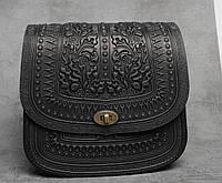 """Авторская кожаная сумка """"Дубок"""" ручной работы, большая чёрная сумка из натуральної кожи, фото 1"""