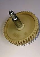 Шестерня редуктора мясорубки SATURN, D-80 мм, зубы косые, с валом шестигранник