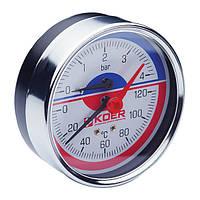 Термо-манометр аксиальный (KOER KM.812A) (0-4 bar), D=80мм, 1/2'' (KR0221)