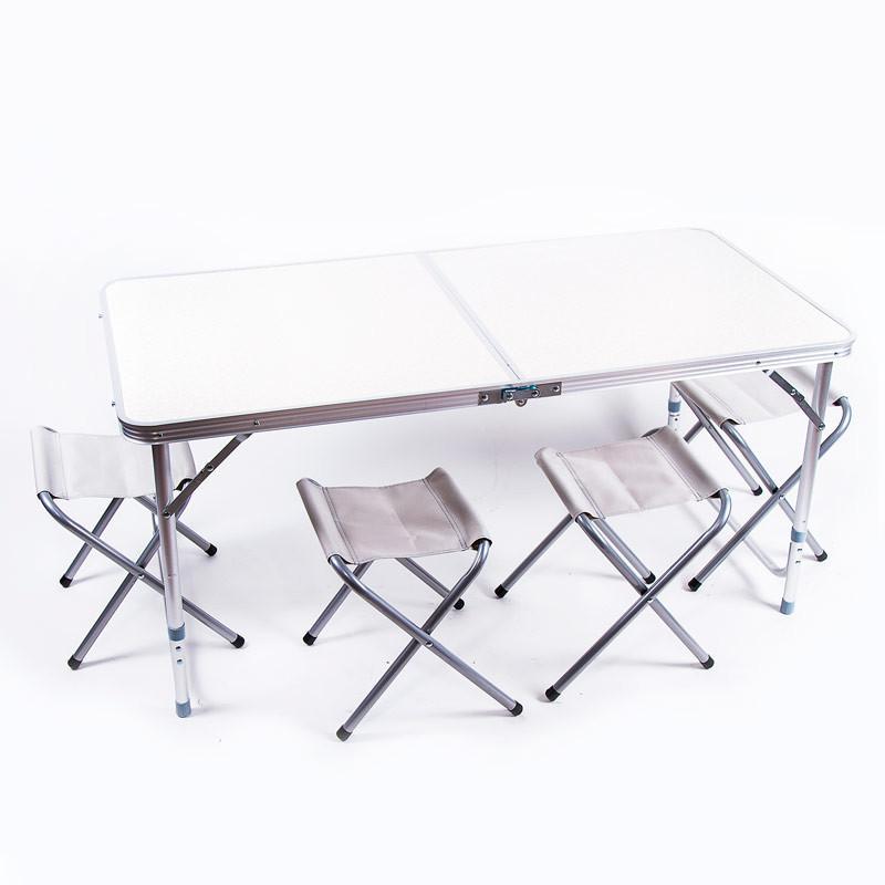 Стол туристический, алюминий, пластик белый, 4 стула, 120*60*70/55cm