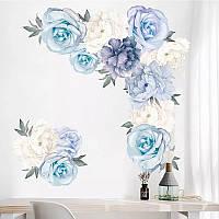 """Наклейка на стену, окна, зеркала, шкафы """"пионы розы бело-голубые"""" 65см*66см (лист 60*90см)"""