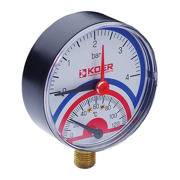Термо-манометр радиальный (KOER KM.801R) (0-4 bar), D=80мм, 1/2'' (KR0217)