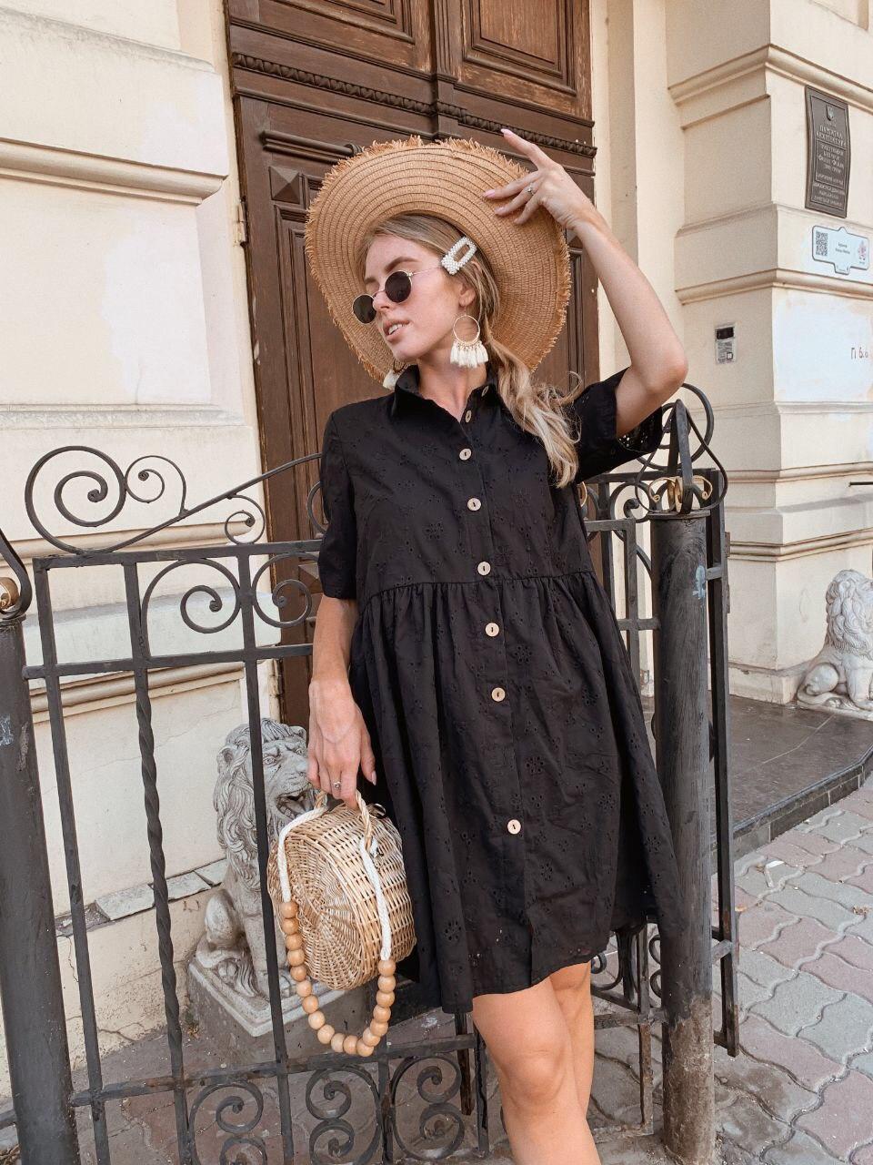 Платье прошва черное с пуговицами