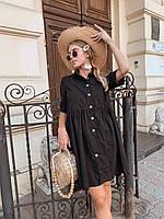 Платье прошва черное с пуговицами, фото 1