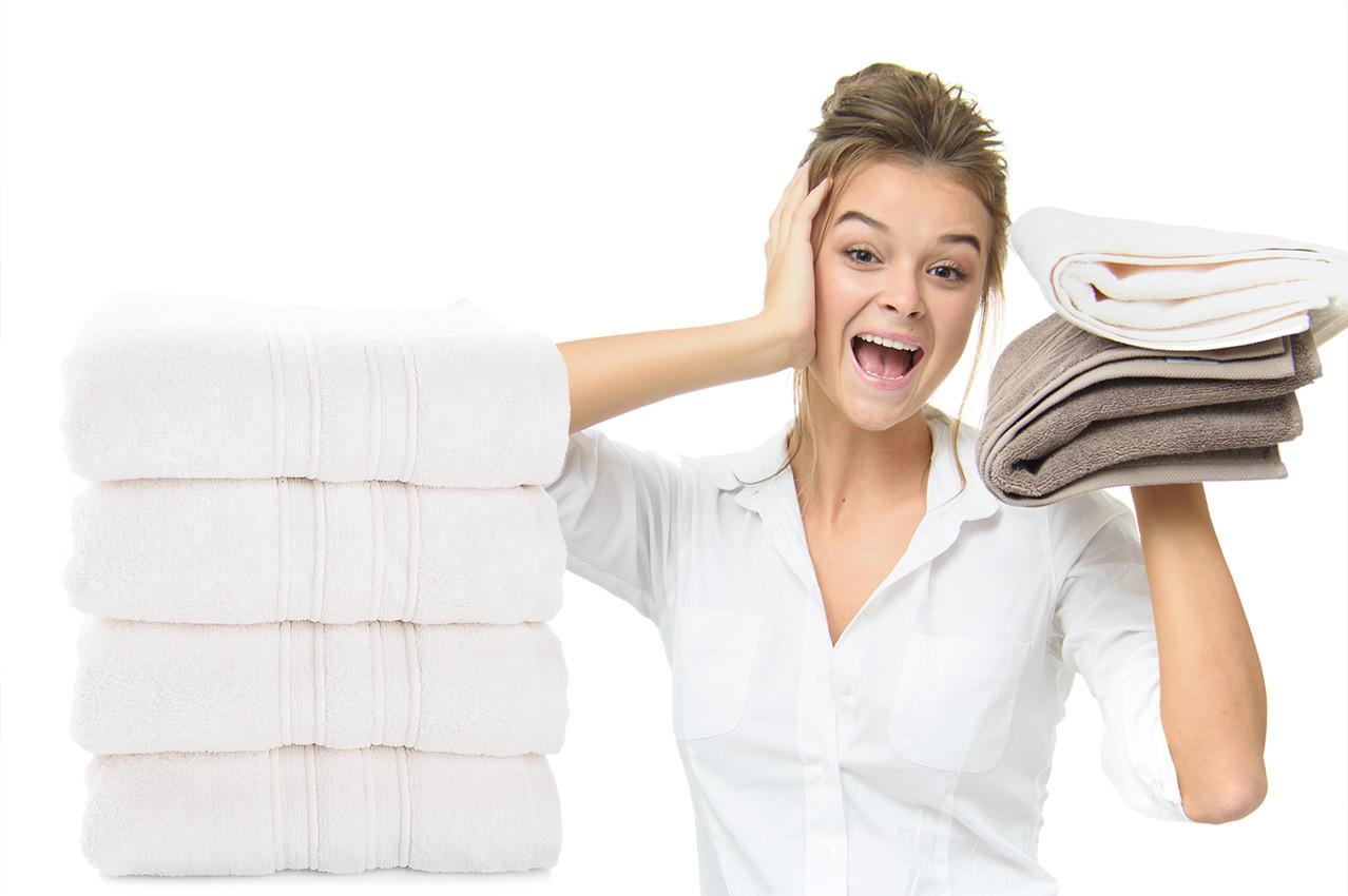 Махровое полотенце Aqua Fiber Premium 100*150 молоко
