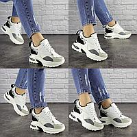 Женские стильные белые с серым кроссовки на танкетке Watson 1680  эко-кожа эко-замша  Размер 36 - 22,5 см по стельке
