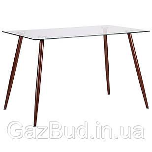 Нераскладной стол Art Metal Furniture(AMF) Умберто DT-1633 орех/стекло прозрачное (521260)