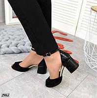 Женские черные босоножки натуральная замша на кожаном каблуке под питон