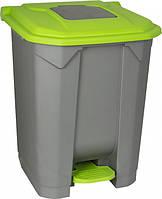 Бак мусорный 50л с педалью серый-зеленый  ІР6816