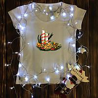 Женская футболка с принтом - Рождественский венок