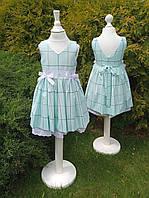Платье детское, мятное с принтом
