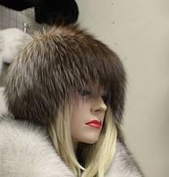 Меховая шапка Сноп чернобурой лисы отбеленный (импорт)