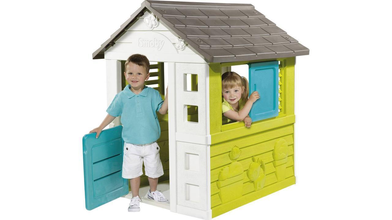 Детский игровой домик Радужный со ставнями (голубой) Smoby  810710