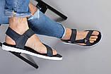 Мужские кожаные синие сандалии на липучке, фото 5