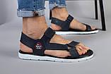 Мужские кожаные синие сандалии на липучке, фото 4
