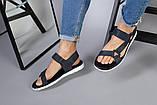 Мужские кожаные синие сандалии на липучке, фото 7