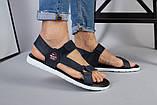 Мужские кожаные синие сандалии на липучке, фото 6