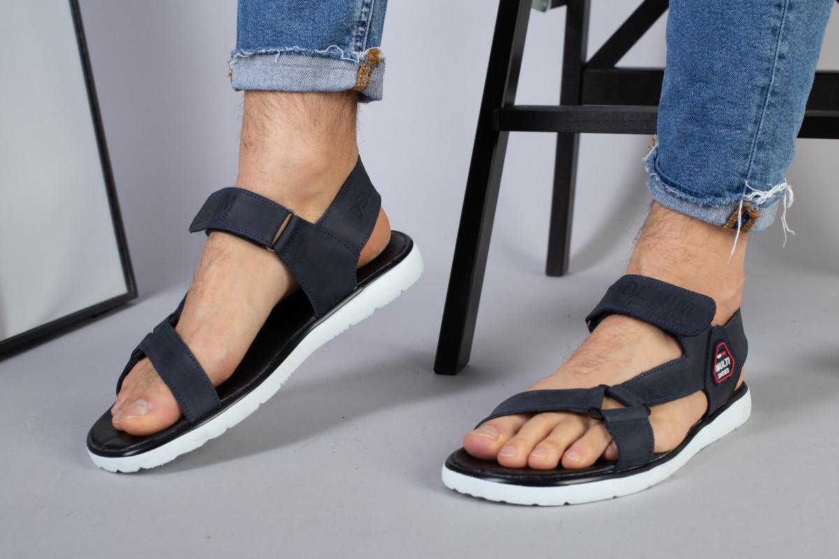 Мужские кожаные синие сандалии на липучке