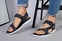 Мужские кожаные синие сандалии на липучке, фото 1