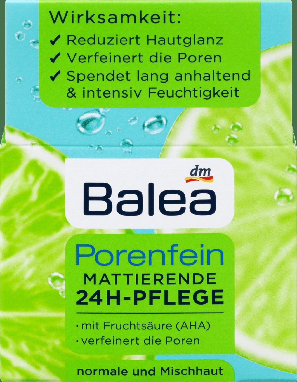 Матирующий крем для лица с фруктовыми кислотами Balea Porenfein Mattierende 24H-Pflege, 50 ml.