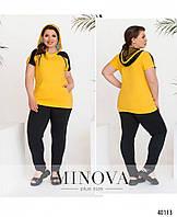 Модный удобный летний женский спортивный костюм в расцветках больших размеров 50 - 64