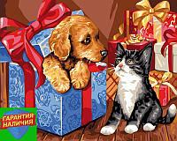 Картина по номерам Питомцы в подарках 40*50см Brushme GX24121 Розмальовка по номерах
