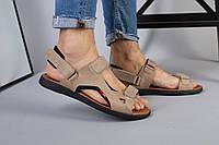 Мужские кожаные сандалии оливкового цвета, фото 1