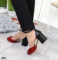 Женские красные босоножки натуральная замша на кожаном черном каблуке под питон