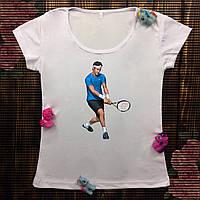 Женская футболка  с принтом - Теннис