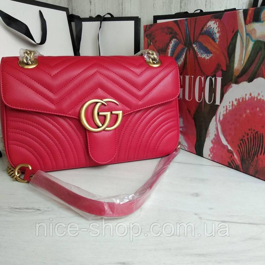 Сумочка Gucci красная кожаная, фото 2