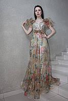 """Вечернее длинное нарядное платье из органзы с цветочным принтом, на чехле """"рыбка"""", на свадьбу, на выпускной"""