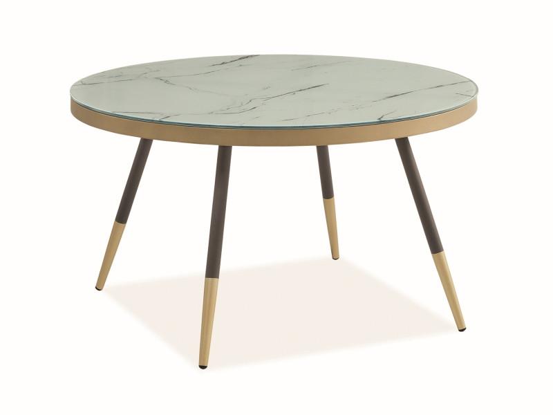 Журнальний стіл VEGA B білий (ефект мармуру), чорний-золотий 80х80х45 (Signal)