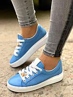 Женские кожаные кеды с перфорацией голубые, фото 1
