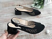 Женские кожаные босоножки Марини чёрные + замш 405 ч/з размеры 37,38,39, фото 1
