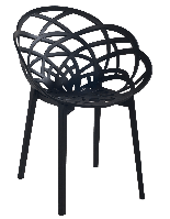 Кресло Papatya Flora матово-черное сиденье, ножки матовые чёрные, фото 1