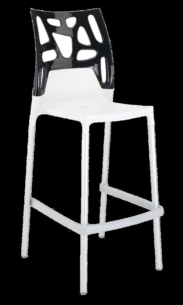 Барний стілець Papatya Ego-Rock біле сидіння, верх чорний
