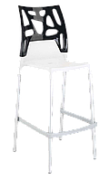 Барний стілець Papatya Ego-Rock біле сидіння, верх чорний, фото 1