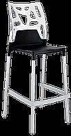 Барний стілець Papatya Ego-Rock чорне сидіння, верх прозоро-чистий, фото 1