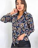 Рубашка удлиненная с рисунком абстракция,ткань креп шифон, цвета в ассортименте, р-р. 42-46  Код 302Т, фото 2