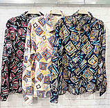 Рубашка удлиненная с рисунком абстракция,ткань креп шифон, цвета в ассортименте, р-р. 42-46  Код 302Т, фото 4