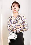 Рубашка удлиненная с рисунком абстракция,ткань креп шифон, цвета в ассортименте, р-р. 42-46  Код 302Т, фото 5
