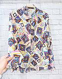 Рубашка удлиненная с рисунком абстракция,ткань креп шифон, цвета в ассортименте, р-р. 42-46  Код 302Т, фото 6