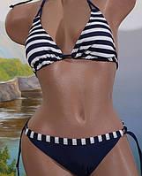 Раздельный купальник в полоску, синий - XL (46р.) бюст 92-94см, бедра 98см, 92% нейлон, 18% спандекс