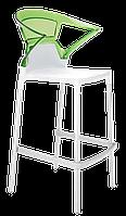 Барное кресло Papatya Ego-K белое сиденье, верх прозрачно-зеленый, фото 1