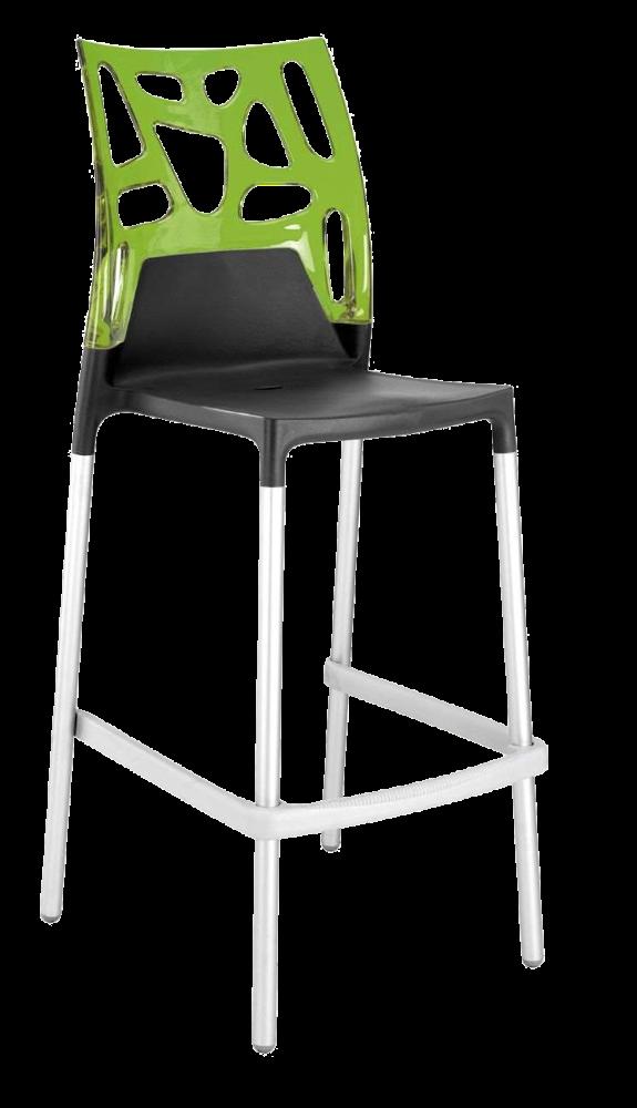 Барный стул Papatya Ego-Rock антрацит сиденье, верх прозрачно-зеленый