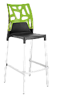 Барный стул Papatya Ego-Rock антрацит сиденье, верх прозрачно-зеленый, фото 1