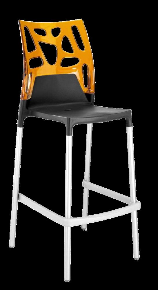 Барний стілець Papatya Ego-Rock антрацит сидіння, верх прозоро-помаранчевий