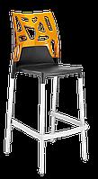 Барний стілець Papatya Ego-Rock антрацит сидіння, верх прозоро-помаранчевий, фото 1